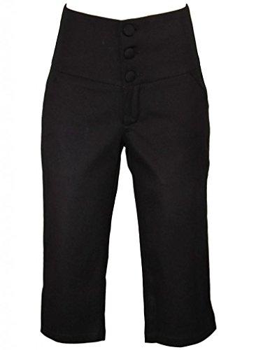 Black Retro Rockabilly Pinup 1950s High Waisted Capris Pants - Medium