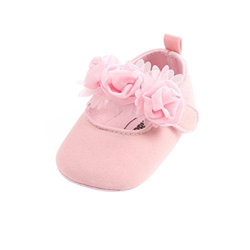Kuner Baby Girls Lace Bow Mary Jane Princess Shoes No-Slip First Walkers Shoes (13cm(12-18months), Pink Flowers)