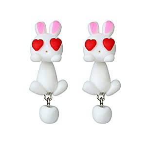 Gespout Creative Cute White Rabbit Pendant Earrings Women Jewellery Accessories Christmas Eve Christmas Wedding Anniversary Valentine's Day Gift