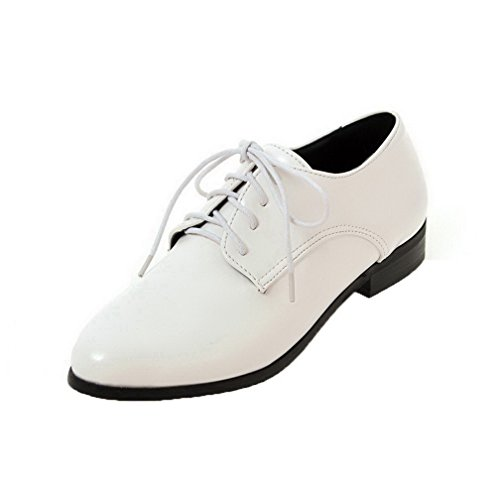 VogueZone009 Women's PU Lace-up Pointed-Toe Low-Heels Solid Pumps-Shoes White ah4isPbnI
