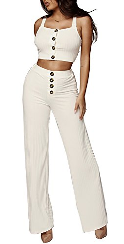 Holiday 2 Piece Outfit - Molisry Women's Retro 2 Pieces Outfits Spaghetti Strap Crop Tops & Wide Leg Long Pants Rompers