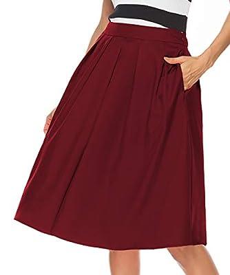 REGAI Women's High Waist Flared Skirt Pleated Midi Skirt with Pocket