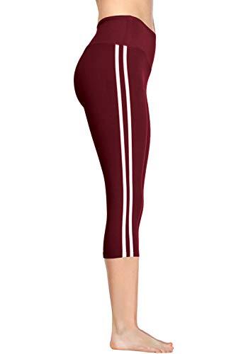 VIV Collection Striped Signature Capri Yoga Mid Waist NO Pocket (L, Burgundy)