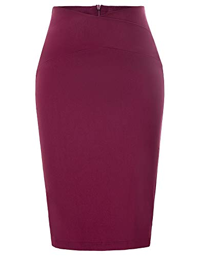 Stretchy Business Office Midi Pencil Skirt for Shirt Top Wine Red Size XXL CL937-2 (Shirt Pencil Skirt)