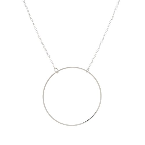 TomShot - Women's Silver Ring Circle Necklace Anchor Link Chain Plated Brass Adjustable Size - (Brass Link Chain Circle Necklace)