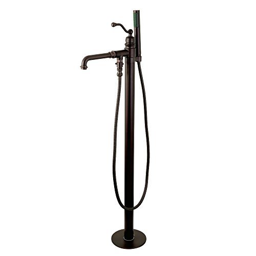 English Bronze Hand Shower - Kingston Brass KS7035ABL English Country Single Handle Freestanding Roman Tub Faucet with Hand Shower, Oil Rubbed Bronze