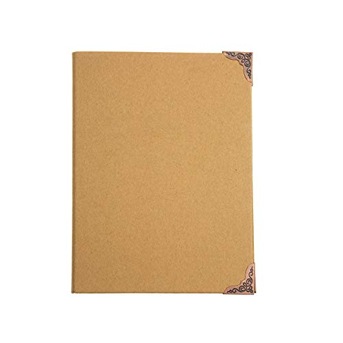 (Chris-Wang 1Pc Recycled Chipboard Kraft Paper 9 Round Rings Binder Cover File Folder DIY Album with Metal Corner Guard, 215x280mm(B5 Size))