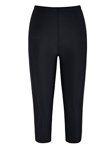 coastal rose Women's Swim Shorts UPF50+ Sport Rashguard Swim Capris Pants US14 Black