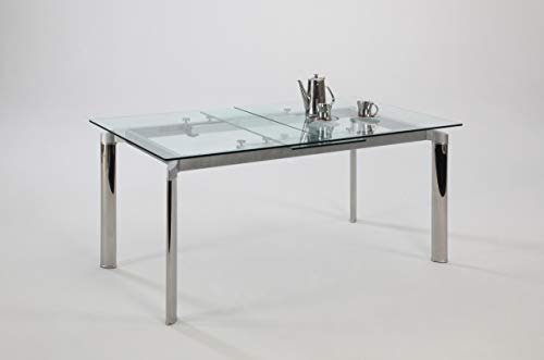 Chintaly Imports Pop-up Extension Glass Dining Table, Stainless Steel/Clear