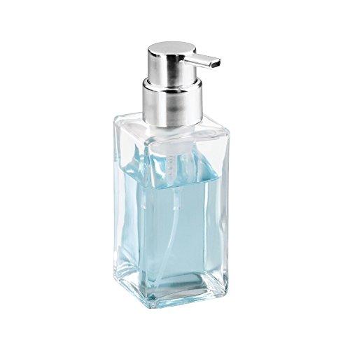 mDesign Juego de 2 dispensadores de jabón en espuma - Dosificador de baño de cristal con capacidad de 414 ml - Dosificadores de jabón de diseño cuadrado con ...