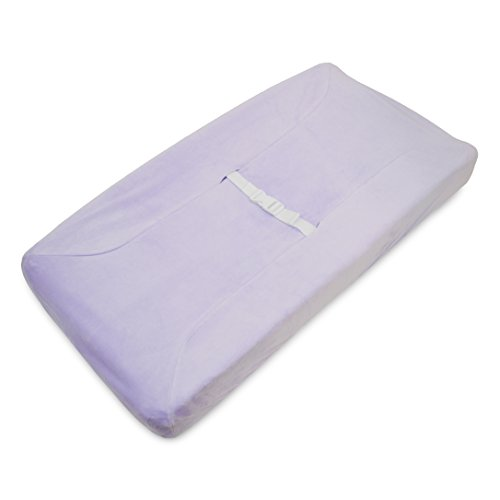 TL Care Heavenly Soft Chenille Fitted Contoured Changing Pad Cover, Lavender - Chenille Contoured Changing Table Cover