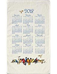 2018 Kitchen Linen Calendar Towel with Dowel for Easy Hanging (Bird Menagerie)