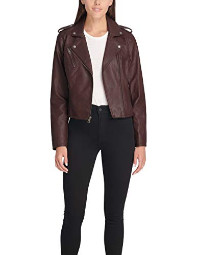 Levi's Ladies Outerwear Women's Faux Leather Classic Asymmetrical Motorcycle Jacket (Regular and Plus Sizes)