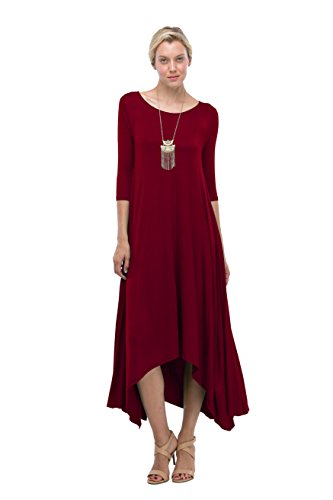 Wine Flared Pocket High Low Maxi Neck Dress 4 W Sleeve In Love 3 Round Long xBOwz6yUCq