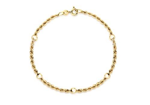 """Jewellery World Bague en or jaune 9carats creux bracelet en corde ET Balle 18cm/7"""""""