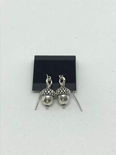 silvertone 3d acorn charm dangle earrings ()