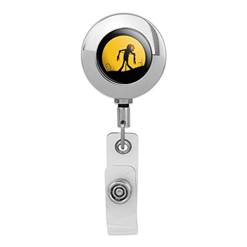 Jack-o'-Lantern Scarecrow Halloween Retractable Reel Premium Metal Chrome Badge ID Card Holder -