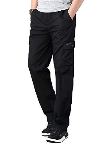 Banana Bucket Men's Full Elastic Waist Loose Fit Lightweight Workwear Pull On Cargo Pants Black