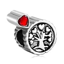 European Charm Bead Heart Tree with Red Stone Pugster Charms Fits Pandora