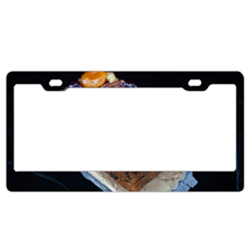 EXMENI License Plate Loaf Cakes Christmas Cookies Caramelized Fruit Dried Apricots Walnuts Car Tag for Cool Men and Women