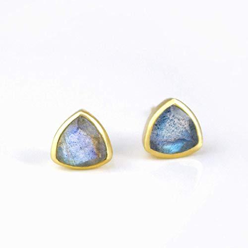 Labradorite triangle stud earrings, everyday earrings, Vermeil Gold bezel set studs, Birthday gift, White triangle post earrings