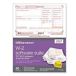 Office Depot(R) Brand W-2 Laser/Inkjet Tax Forms with Software for 2017 Tax Year, 2-up, 6-Part, 8 1/2in. x 11in, Pack of 50 by Office Depot (Image #1)