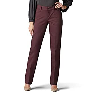 Lee Women's Secretly Shapes Regular Fit Straight Leg Pant, Espresso, 4 Short