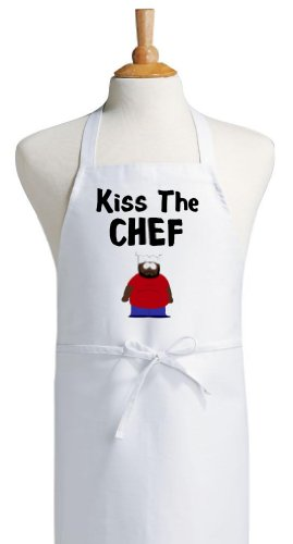 Kiss The Chef South Park Novelty Cooking Aprons, White, One Size Fits most