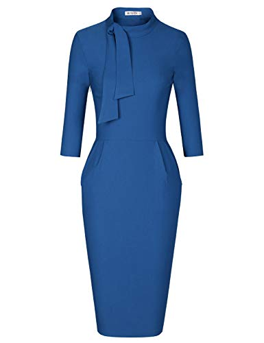 - MUXXN Audrey Hepburn 60s Retro Pocket Empire Waist Special Occasion Party Dress (Navy Blue L)
