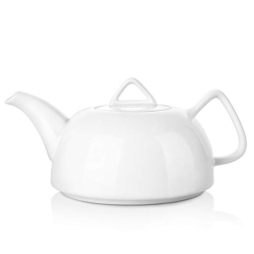 DOWAN Ergonomic Porcelain Teapot, 30-Ounce Tea Pot with Strainer Holes and Double D-shape on Lid for Loose Leaf and Tea Bags, Set of one, White - Double Teapot Handle