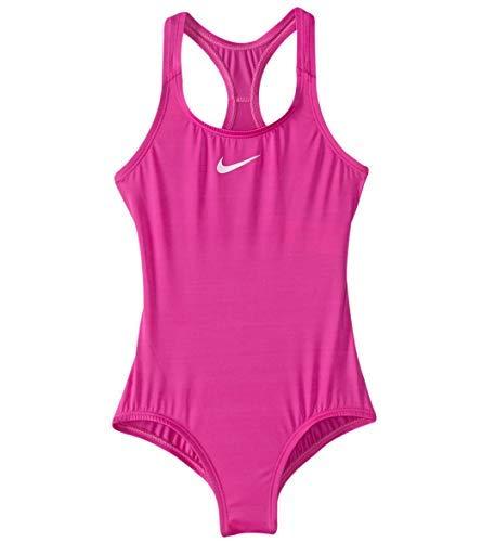 Nike Girl`s Core Racerback Tank 1-Piece Swimsuit (14, Fuchsia Blast(NESS8600-580)/White) ()