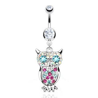 Steel 14 Gauge 3/8' Curved - 316L Surgical Steel Owl with Multi Colored Gems Dangle Belly Ring - 14G (1.6mm), 3/8'' Bar Length