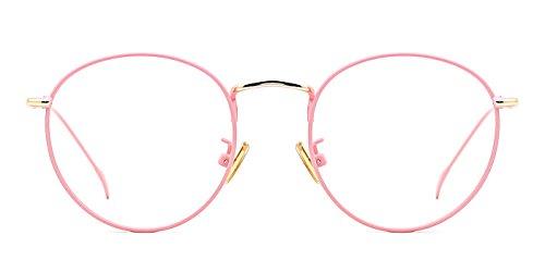 TIJN Women Metal Circle Eyeglasses Fashion Full Rim Round Thin Artist Frame