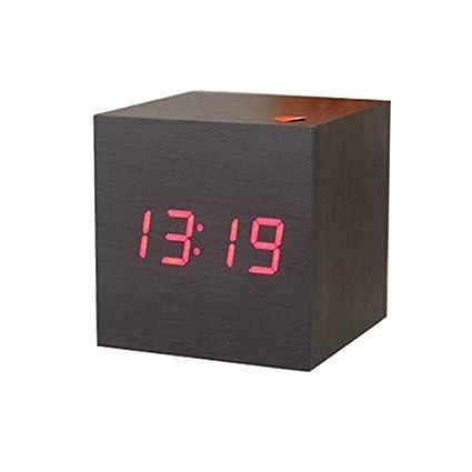 Cunclock 1pcs nuevos y modernos de madera de madera de sobremesa LED Digital Reloj alarma Termómetro