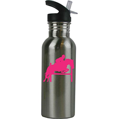 - Personalized Custom Equestrian Horse Jumping Stainless Steel Water Bottle with Straw Top 20 Ounce Sport Water Bottle Customizable (Hot Pink)