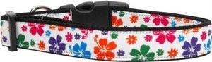 Hawaiian Dog Collar Collars - Mirage Pet Products 125-148 MD Multicolor Hawaiian Hibiscus Nylon Dog Collars, Medium