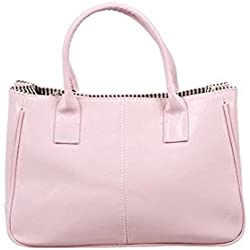 MissFox Korea Simple Style PU leather Clutch Handbag Bag Totes Purse Pink
