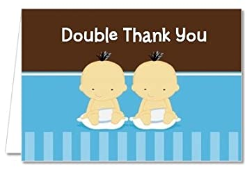 Amazon Com Twin Baby Boys Asian Baby Shower Thank You Cards
