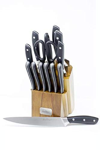 (Jean-Patrique Onyx Collection Stainless Steel Knife Set with Acrylic wooden Storage Block | Professional Cooking Chef Handles Sharp Knives - 14 Piece Set)