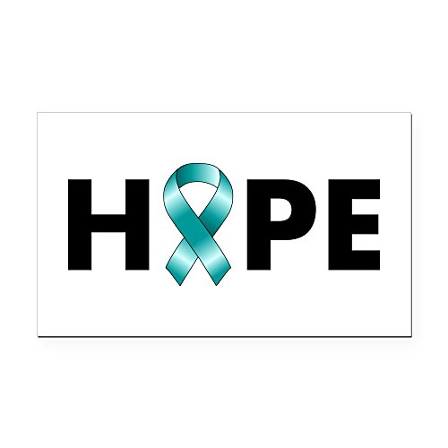 CafePress - Teal Ribbon Hope Rectangle Car Magnet - Rectangle Car Magnet, Magnetic Bumper -