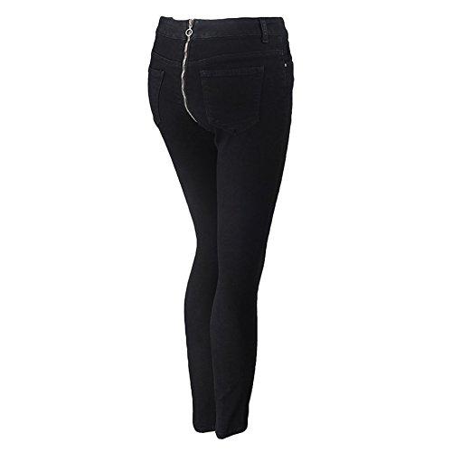Unita Tromba Larghi Sexy Donna Jeans Pantaloni Chiaro Nero Zip xl Micro Blu Davanti Dietro Tinta Scuro Semplici S E Da 8q4xwIExO