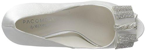 Menbur Wedding Montse - zapatos de tacón con punta descubierta de raso mujer marfil - Elfenbein (Ivory)
