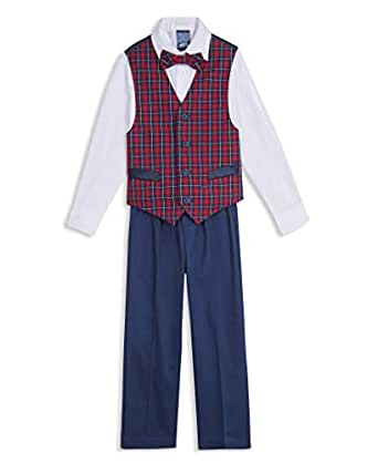 Nautica Boys' Toddler 4-Piece Set with Dress Shirt, Bow Tie, Vest, and Pants, Midnight Blue, 2T