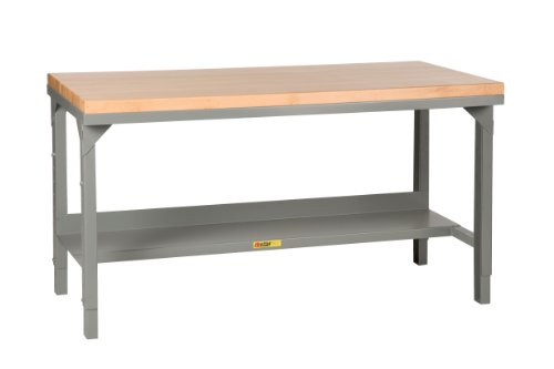 Little Giant WSJ2-3072-AH Welded Steel Workbench, Butcher Block Top, 1 Half-Shelf, 3000 lb. Load Capacity, 28-3/4