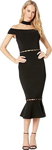 (bebe Womens Lara Button Detail Cut Out Dress Jet Black MD)