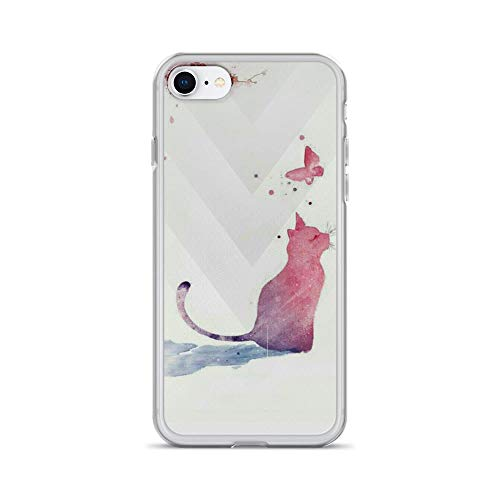 (iPhone 7/8 Pure Clear Case Cases Cover Cute Little Cat and Butterfly Watercolor Art)