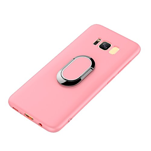 Galaxy S8 Plus Case, WATACHE Slimmest Magnetic 360 Degree Rotating Ring Holder Premium TPU Shockproof Protective Case Cover for Samsung Galaxy S8 Plus (6.2) (Pink)