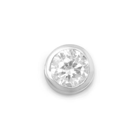 8mm Round Cubic Zirconia Button Bezel Set Slide Pendant 8mm Sterling Silver Slide Pendant Set