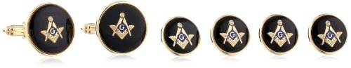 Status Men's Stud Set Masonic Round with Black Enamel With Masonic Compass, Gold, One Size by Status