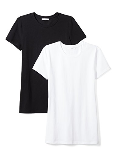 Stretch Crewneck Tee - Amazon Brand - Daily Ritual Women's Stretch Supima Short-Sleeve Crew Neck T-Shirt, Black/White,Large